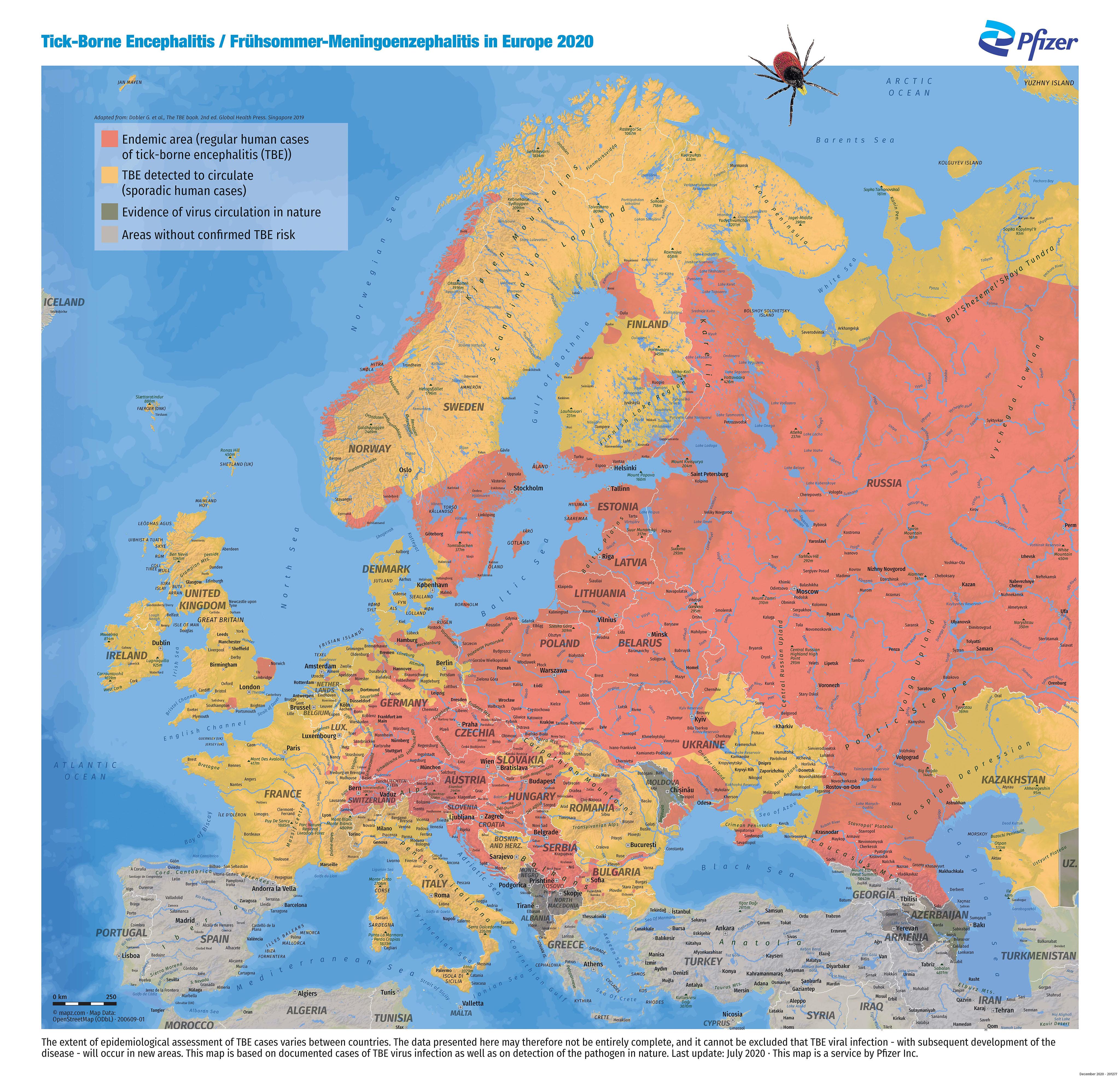 Tekenencefalitis   kaart Europa   Wanda