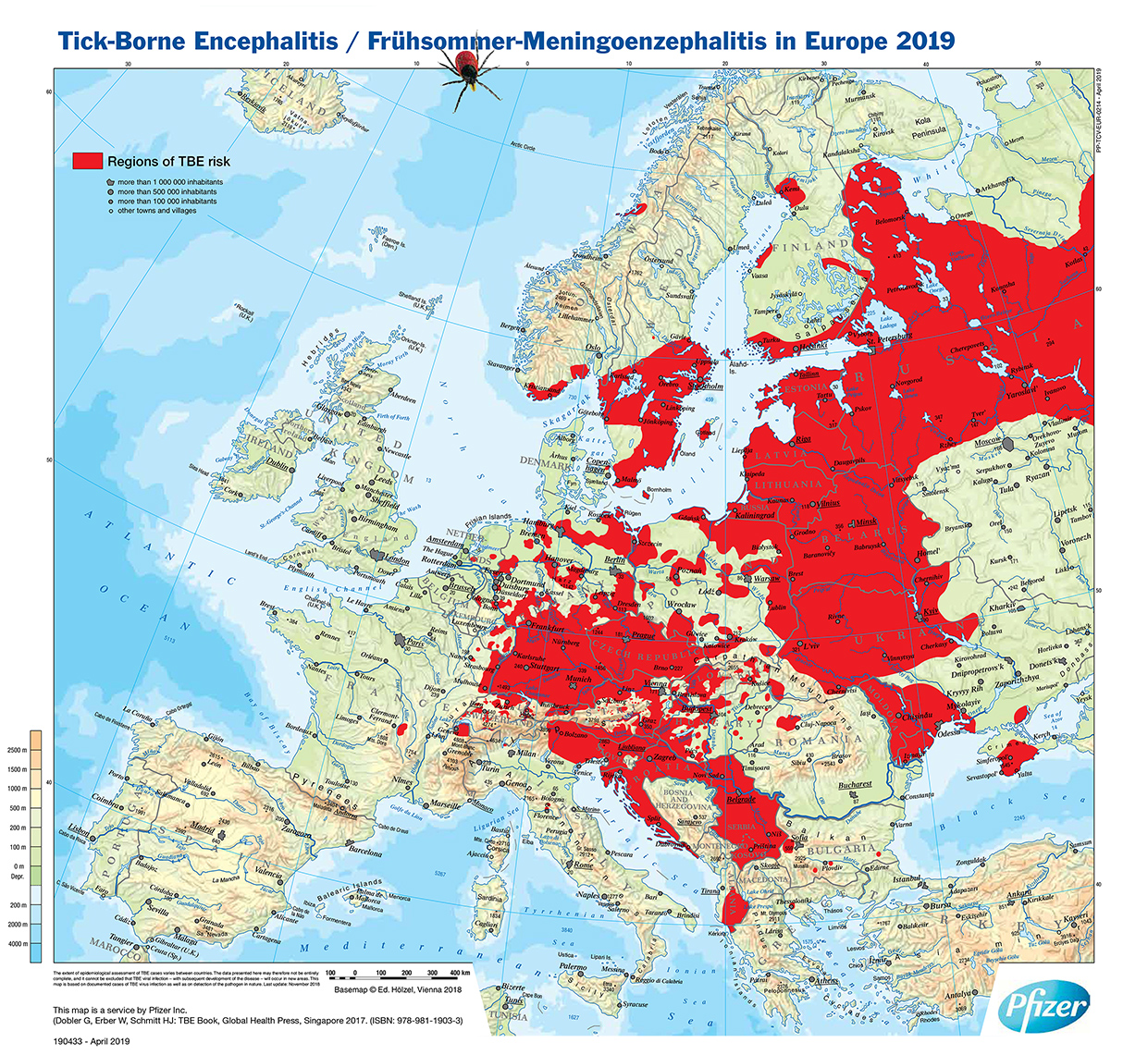 Map showing the distribution area of tick-borne encephalitis in Europe coloured red.